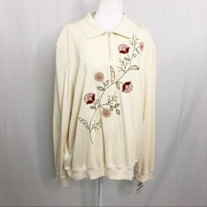 NEW Alfred Dunner Embroidered Tunic Top, Size XL